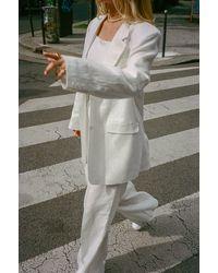 NA-KD Chloé Monchamp x Oversize-Blazer Aus Leinen - Weiß