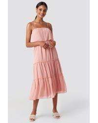 Trendyol Carmen Neck Midi Dress - Roze