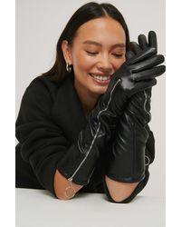 NA-KD Accessories Lange Handschoenen Met Ritsdetail - Zwart