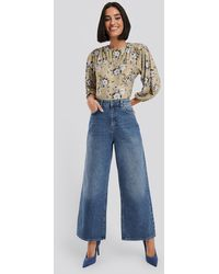 NA-KD Straight Fit Cropped Jeans Blue