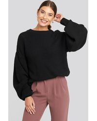 NA-KD Puff Sleeve Sweater - Schwarz