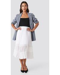 NA-KD Co-ord Pleated Panel Midi Skirt - Wit