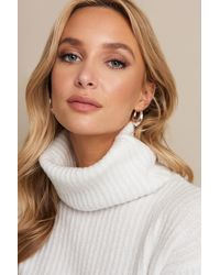 NA-KD High Neck Cropped Sweater - Wit