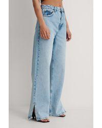 NA-KD Vintage Look Brede Jeans Met Zijsplit - Blauw