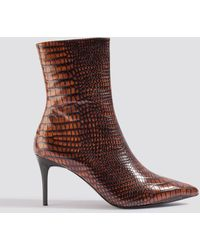 NA-KD Brown Reptile Pointy Boots