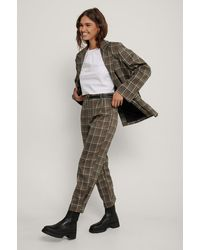 NA-KD Brown,multicolor Checked Ankle Suit Pants