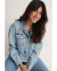Trendyol Blue Crop Denim Jacket