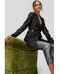 NA-KD Glittery Long Blazer - Zwart