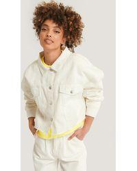 NA-KD White Cropped Oversized Denim Jacket