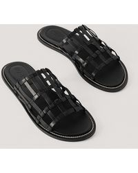 NA-KD Black Leather Cage Slippers