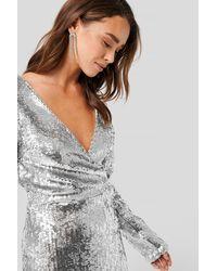 NA-KD Overlap Heavy Sequin Mini Dress - Metallic