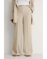 NA-KD Beige Wide Suit Trousers - Natural