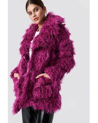 Glamorous - Faux Fur Jacket Purple Fushsia - Lyst