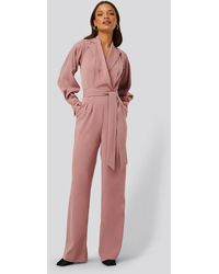 NA-KD Pink Balloon Sleeve Tailored Jumpsuit