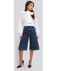 NA-KD Trend Mid Rise Denim Culottes - Blau
