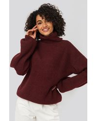 NA-KD Knitted Turtle Neck Sweater - Rood