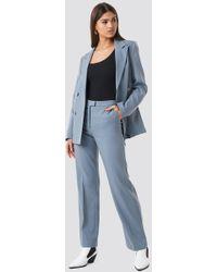 NA-KD Regular Fit Suit Pants Gray - Blue