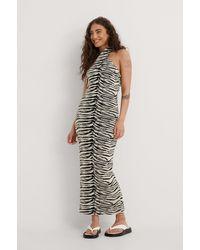 NA-KD Trend Zebra-Strickkleid - Mehrfarbig