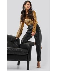 NA-KD Party Heavy Sequin Blouse - Mettallic