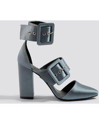 NA-KD Multi Buckle Block Heels Gray