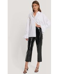 NA-KD Hannalicious X High Waisted Patent Pants - Zwart