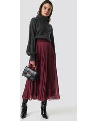 NA-KD Pleated Long Skirt - Rood