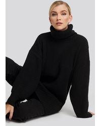 NA-KD Oversized High Neck Long Knitted Jumper Black