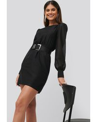 NA-KD Belted Puff Sleeve Dress - Zwart
