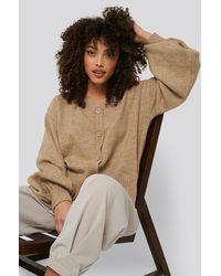 NA-KD Beige Short Chunky Knit Cardigan - Natural
