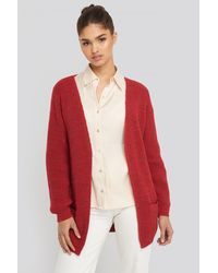 NA-KD Slouchy Open Front Cardigan - Rood