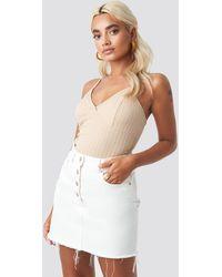 NA-KD High Waist Raw Hem Denim Skirt - Blanc