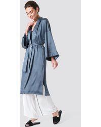 NA-KD Blue Satin Kimono