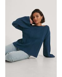 NA-KD Navy Big Ribbed Cropped Knitted Sweater - Blue