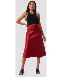 Trendyol Yol Satin Skirt - Rood
