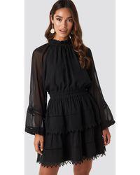 NA-KD Embroidery Mini Dress - Noir
