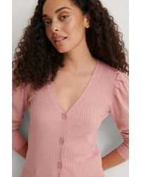 NA-KD Pink Light Knit Puff Sleeve Cardigan