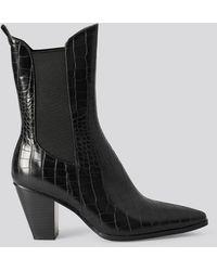 NA-KD Elastic Detail Calf Boots Black