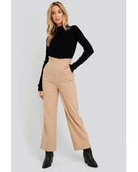 NA-KD High Waist Wide Trousers - Natur