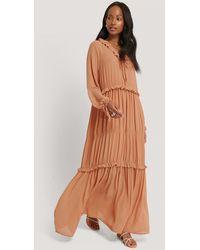 NA-KD Copper Multi Frill Flowy Dress - Brown