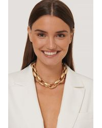 NA-KD Gold Oversize Chubby Chain Necklace - Metallic