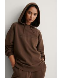 NA-KD Brown Embroidery Detail Oversized Hoodie