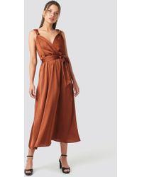 Trendyol Girdle Detailed Midi Dress Copper - Brown