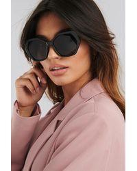 NA-KD Retro Octagon Sunglasses Black