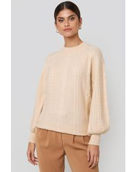 NA-KD Balloon Sleeve Cable Knitted Sweater Beige - Natural