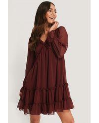 Trendyol Sheer Ruffle Mini Dress - Rood