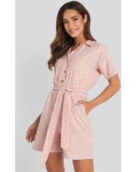 Trendyol Waistband Belted Playsuit - Roze