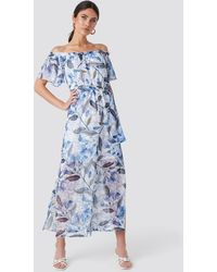 Trendyol Multi Color Patterned Long Dress - Blauw