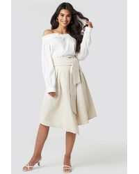 NA-KD - Trend Wrap Over Linen Look Skirt - Lyst