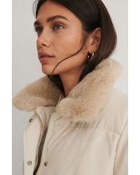 NA-KD Offwhite Drawstring Faux Fur Jacket - Natural
