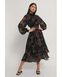 NA-KD - Trend Smocked Waist Midi Dress - Lyst